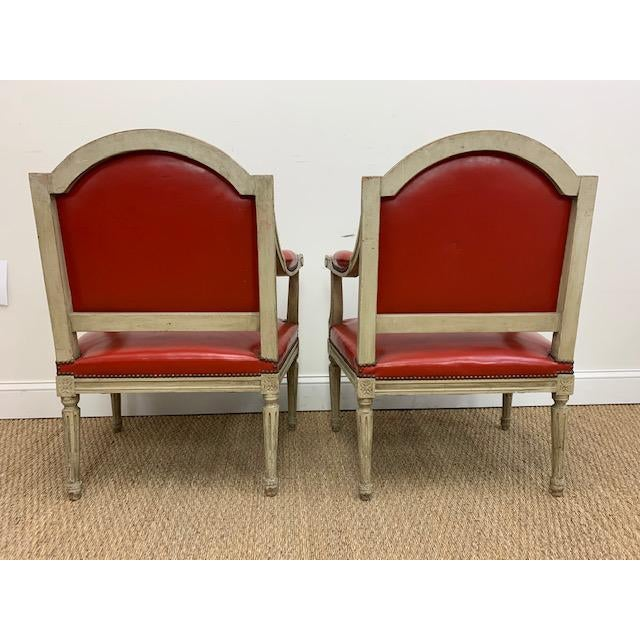 Late 19th Century 19th Century French Louis XVI Fauteuils Style Chairs - a Pair For Sale - Image 5 of 13
