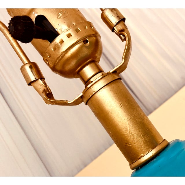 Ceramic Vintage Turquoise Ceramic in the Manner of Frederick Cooper Desk Lamps – a Pair For Sale - Image 7 of 8