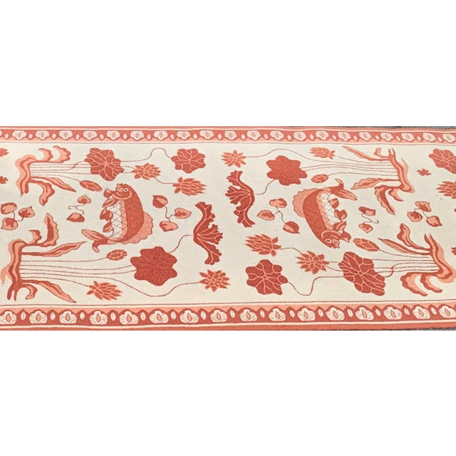 Asian Custom Edward FieldsLong Coral and Cream Runner- 5′6″ × 19′ For Sale - Image 3 of 9