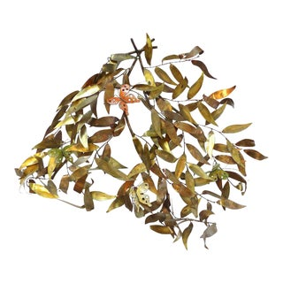 Jere Style Leaves With Butterflies Wall Sculpture For Sale