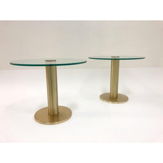 Pace Collection Satin Brass and Glass Side Tables - a Pair For Sale In Palm Springs - Image 6 of 7