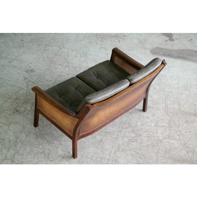 Green Torbjørn Afdal Settee in Olive Colored Leather and Woven Cane for Bruksbo, 1960s For Sale - Image 8 of 13