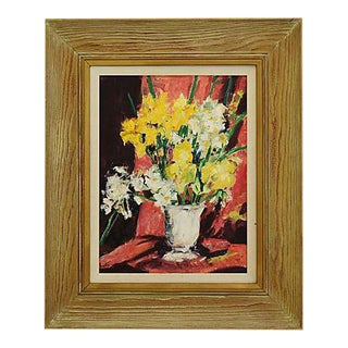 Vintage Mid-Century Signed Dorothy Neal Framed Abstract Floral Oil Painting For Sale