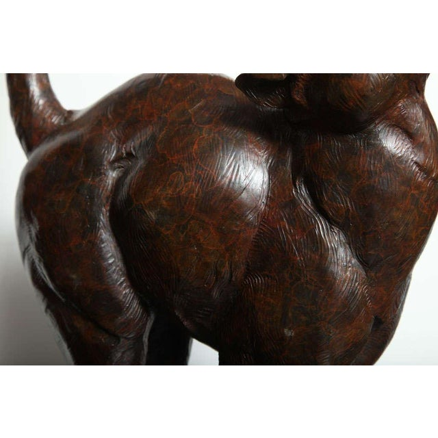 Brown Bronze Figure of a Cat by Dan Ostermiller For Sale - Image 8 of 10