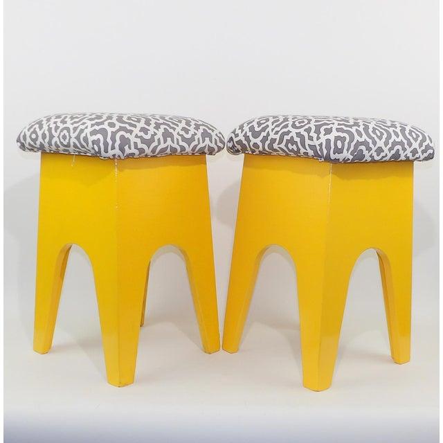 Mid-Century Modern Marigold Geometric Pattern Stools - A Pair - Image 2 of 8