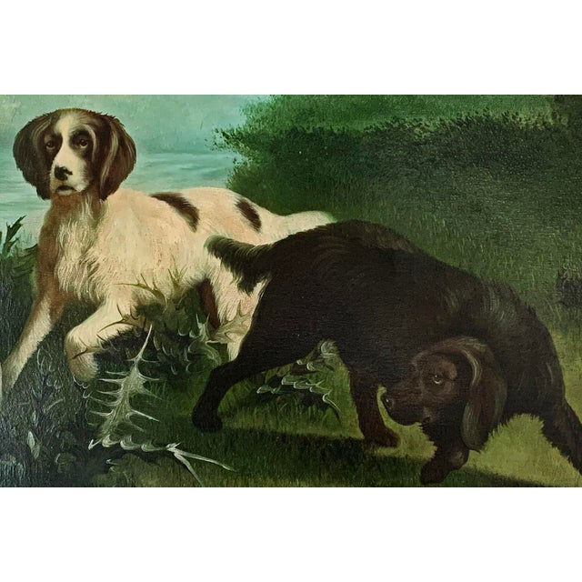 "American Late 19th-Early 20th Century ""Hunting Dogs in Landscape"" American School Oil Painting on Canvas Signed For Sale - Image 3 of 7"