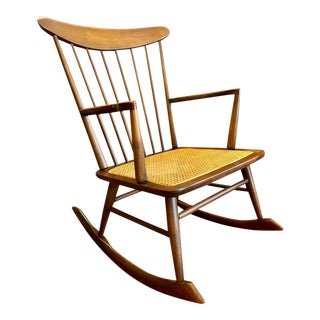 Mid Century Danish Style Vintage Rocking Chair W/Caned Seat For Sale