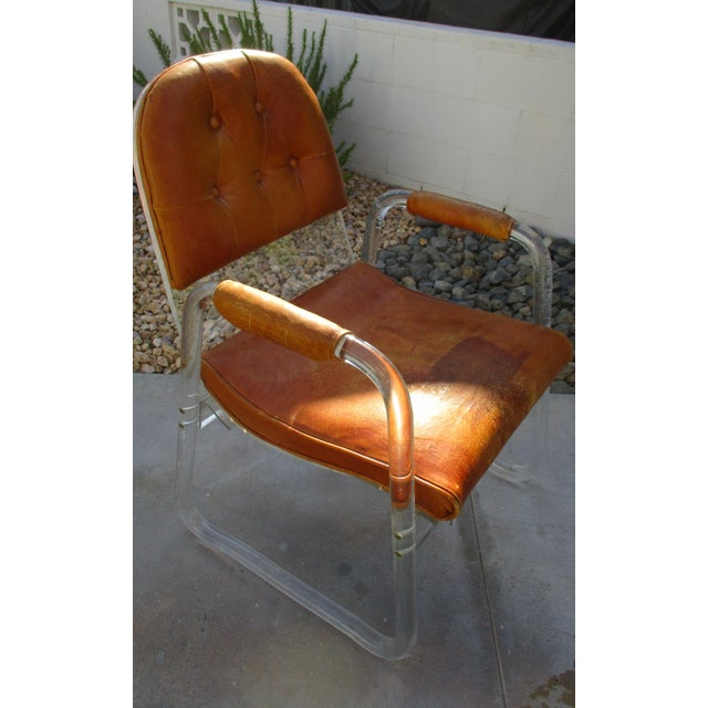 Hill Manuf Lucite and Leather Club Chair - Custom Piece For Sale In Palm Springs - Image 6 of 13