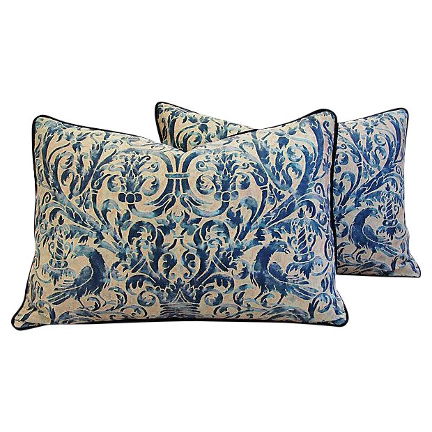 Custom Designer Italian Fortuny Uccelli Feather/Down Pillow (One Pillow) - Image 1 of 10