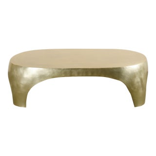 Oval Curve Cocktail Table - Brass by Robert Kuo, Hand Repoussé, Limited Edition