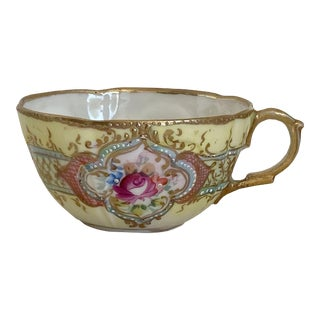 Antique Hand Painted Floral Tea Cup For Sale