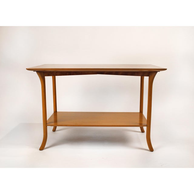 Mahogany t.h. Robsjohn Gibbings Bleached Mahogany Sabre Leg Side Tables for Widdicomb - A Pair For Sale - Image 7 of 9