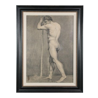19th Century Antique French Standing Male Nude Academic Study Drawing For Sale
