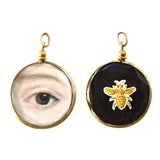 Image of Contemporary Lover's Eye Painting by S Carson in an Antique French Pendant Locket - Double Sided For Sale