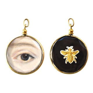 Contemporary Lover's Eye Painting by S. Carson in an Antique French Pendant Locket- Double Sided For Sale