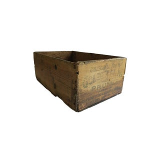 Antique California Fruits Golden Glow Brand Prunes Wooden Crate