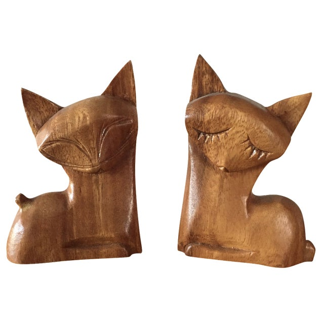 Carved Wood Cats - A Pair - Image 1 of 8