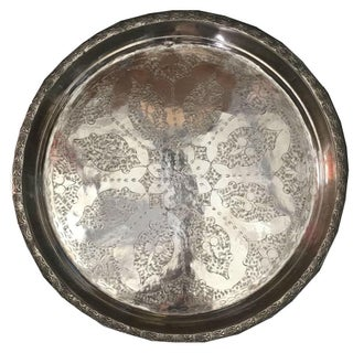 Ian Vintage Moroccan Silver Tray For Sale