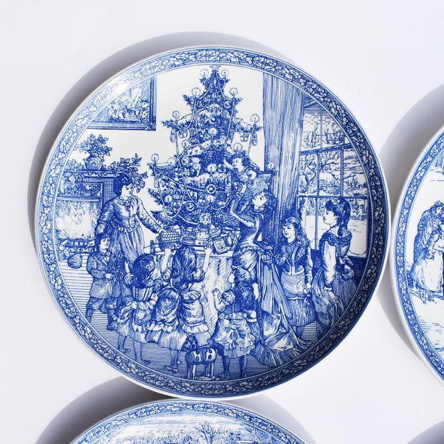 Set of four Georgian blue and white ceramic Christmas plates. Each plate is highly decorated with different Christmas...