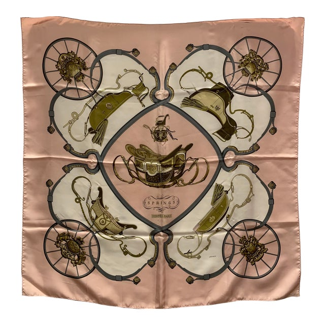 """Hermes """"Springs"""" Equestrian Themed Silk Scarf For Sale"""