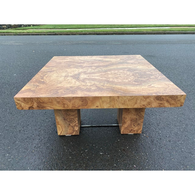Wood 1970s Laminate Wood Burl Mirrored Square Coffee Table For Sale - Image 7 of 8