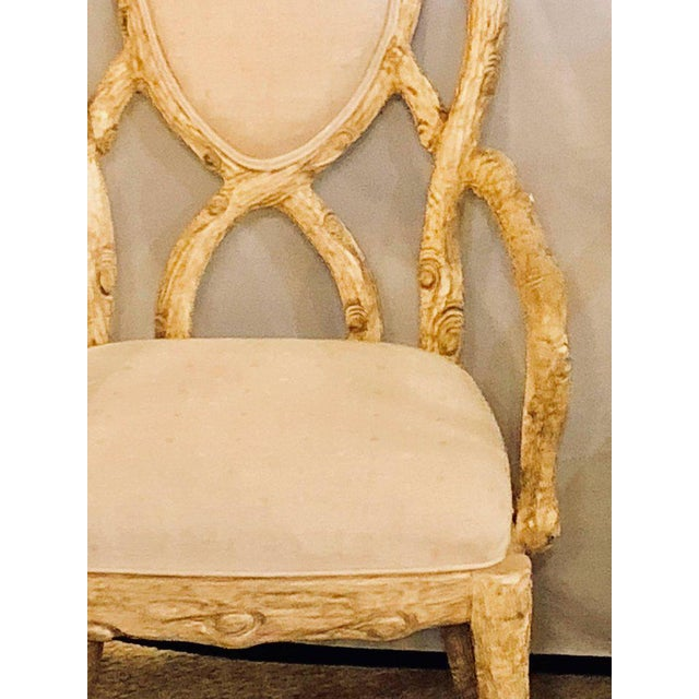 Mid 20th Century Hollywood Regency Style Tree Trunk Form Designed Arm / Desk Chairs - a Pair For Sale - Image 5 of 14