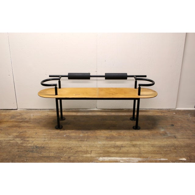 Vintage Ettore Sottsass Postmodern Memphis Group Style Steel and Leather Bench For Sale - Image 13 of 13