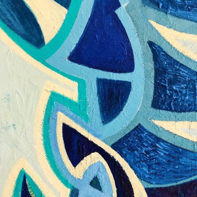 1980s 1980s Abstract Multi Blue Colored Oil on Canvas Painting For Sale - Image 5 of 10