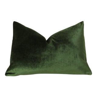 Dark Green Velvet Lumbar Pillow Cover 12x21 For Sale