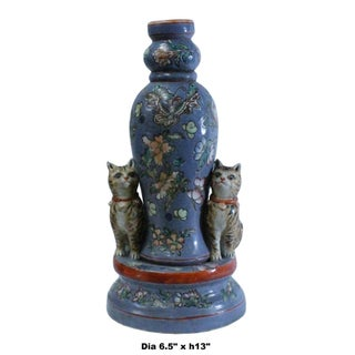 Chinese Oriental Vintage Pastel Purple Blue Cats Floral Graphic Figure Preview