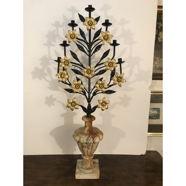 Antique Italian Floral Candelabra Displayed on a Concrete Urn For Sale In Los Angeles - Image 6 of 12
