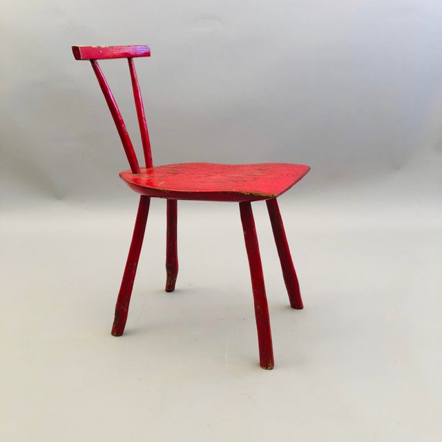 Red Hand Hewn Oak Side Chair For Sale - Image 8 of 8