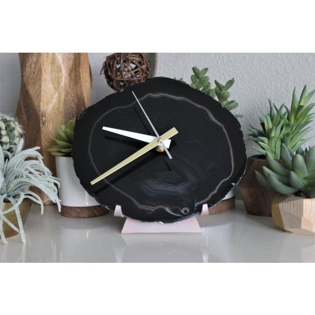Black Agate Slice Desk Clock - Image 5 of 7