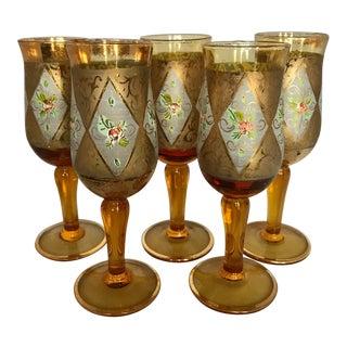 Vintage Cordial Glasses: Amber With Floral Motif & Gold Foil - Set of 5