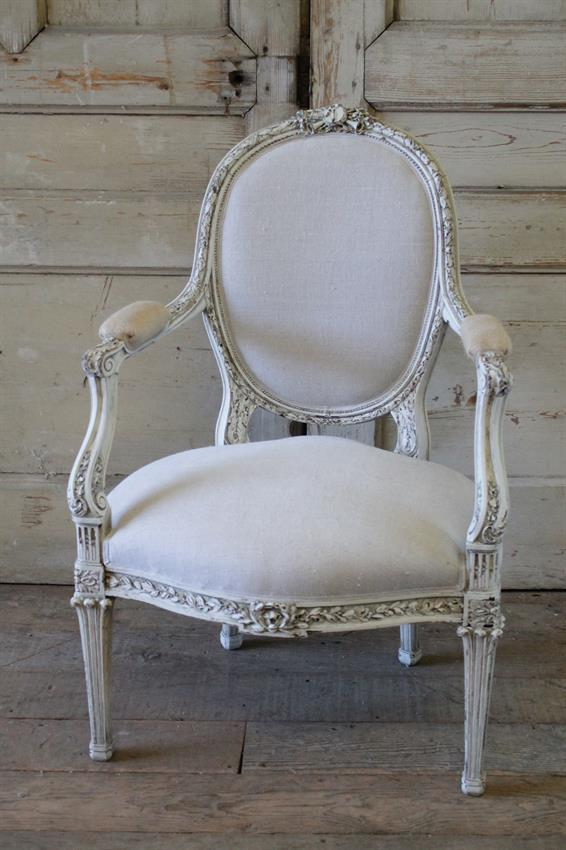 Lovely Painted French Chair In Our Signature Oyster White Finish, With  Subtle Distressing, And