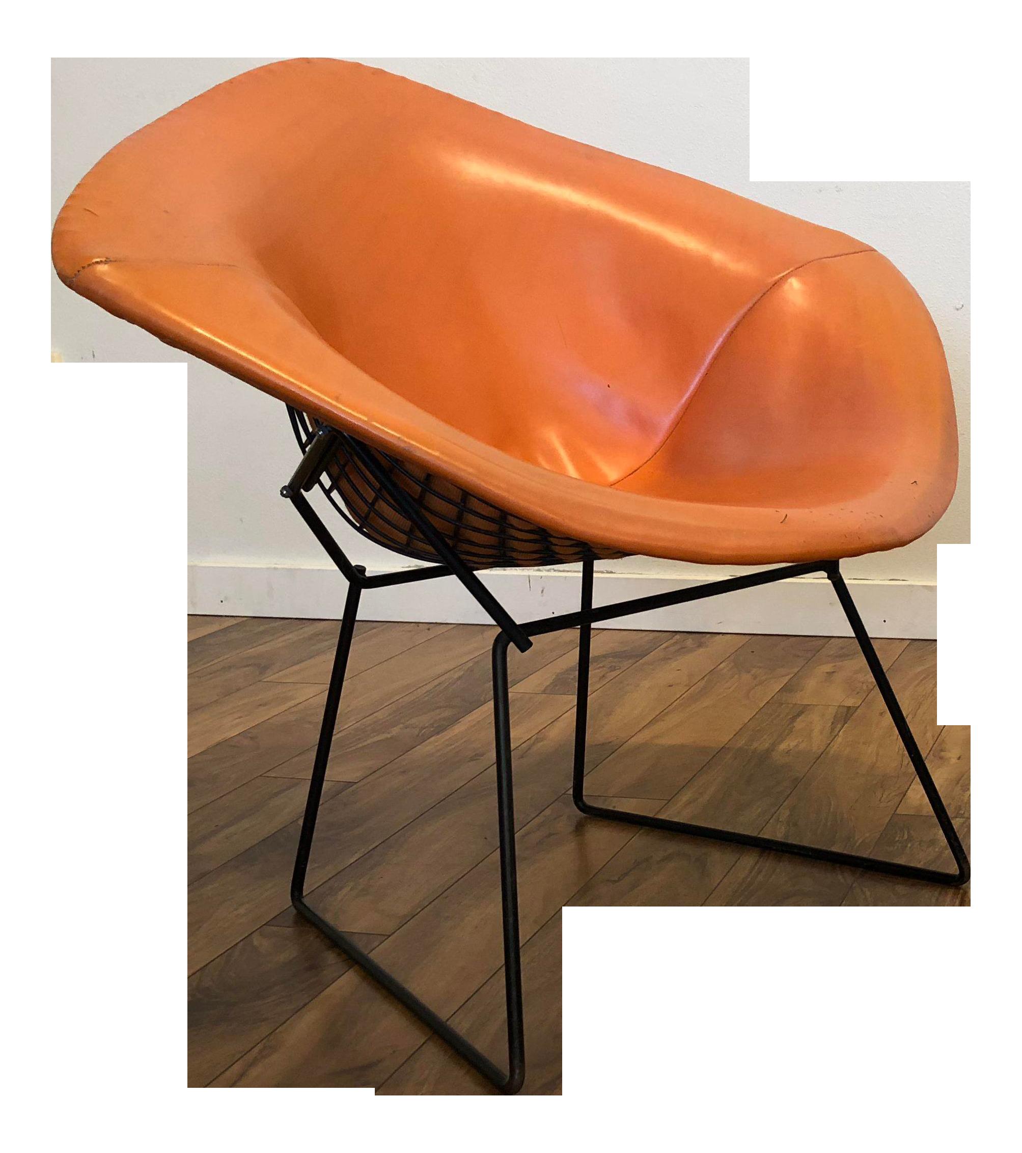 Bertoia For Knoll Black Diamond Chair With Original Orange Cover   Chairish
