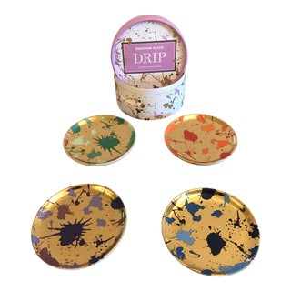 Jonathan Adler 'Drip' Porcelain Coasters - Set of 4 For Sale