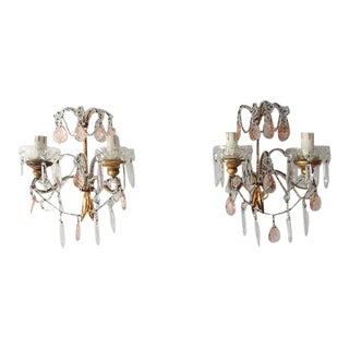 French Beaded Pink Prisms Crystal Sconces, 1900 For Sale