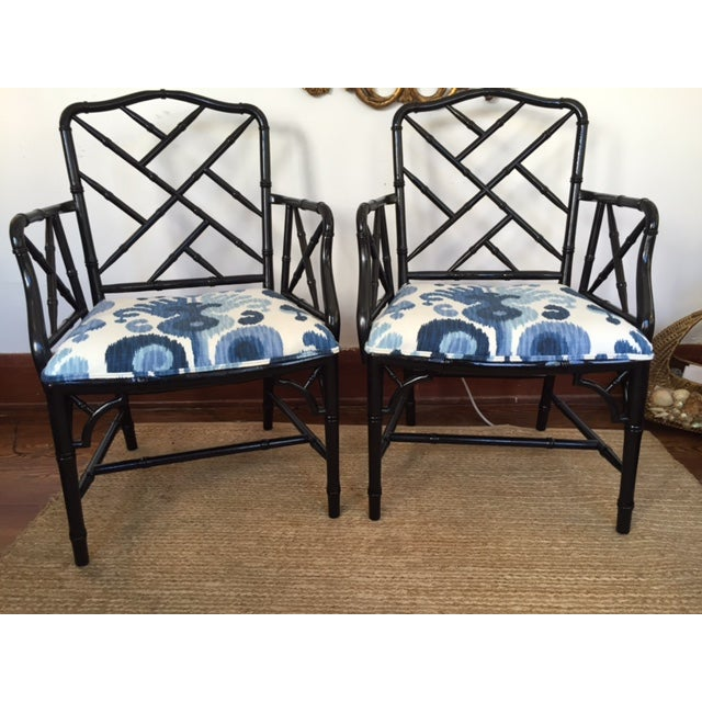 Chinese Chippendale Faux Bamboo Chairs - A Pair - Image 2 of 9