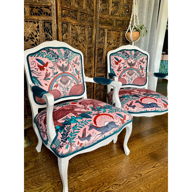 French Provincial Vintage French Provincial Arm Chairs - a Pair For Sale - Image 3 of 10