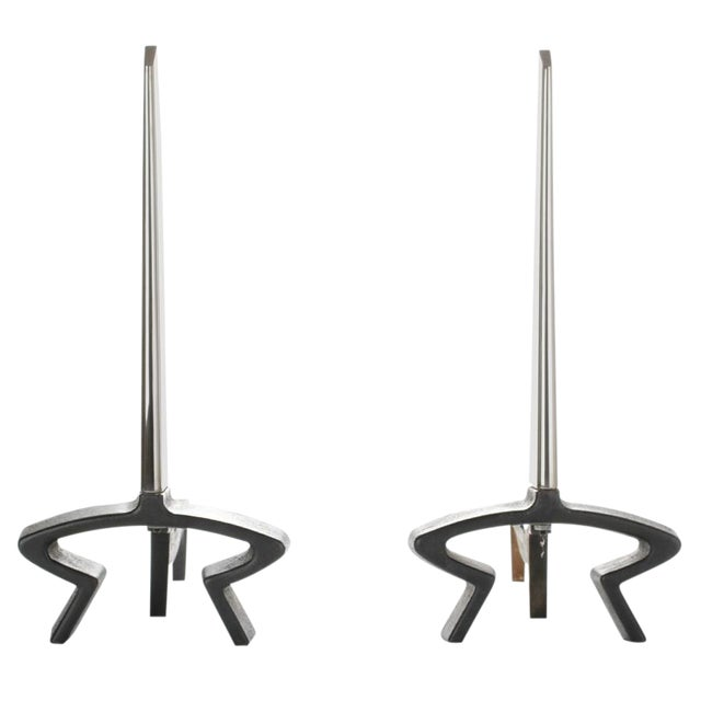 1940s Vintage Deskey Deco Andirons - A Pair For Sale