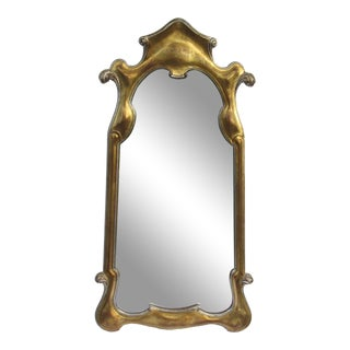 Vintage Hollywood Regency Dorothy Draper-Style Parcel Gilt Gold & Silver Ornate Curvy Mirror For Sale