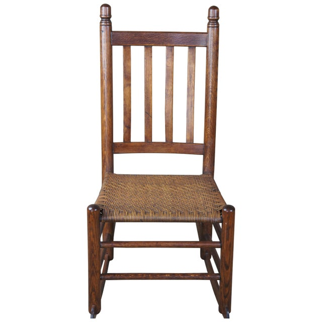 Antique Arts & Crafts Oak & Rattan Rocking Chair For Sale - Image 9 of 9