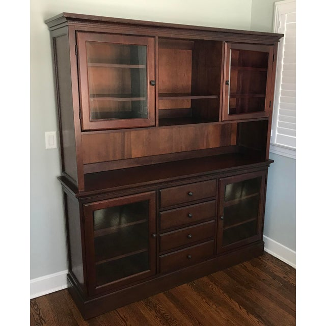 Traditional Pottery Barn Tucker Mahogany Wood Cabinet Buffet & Hutch For Sale - Image 3 of 3