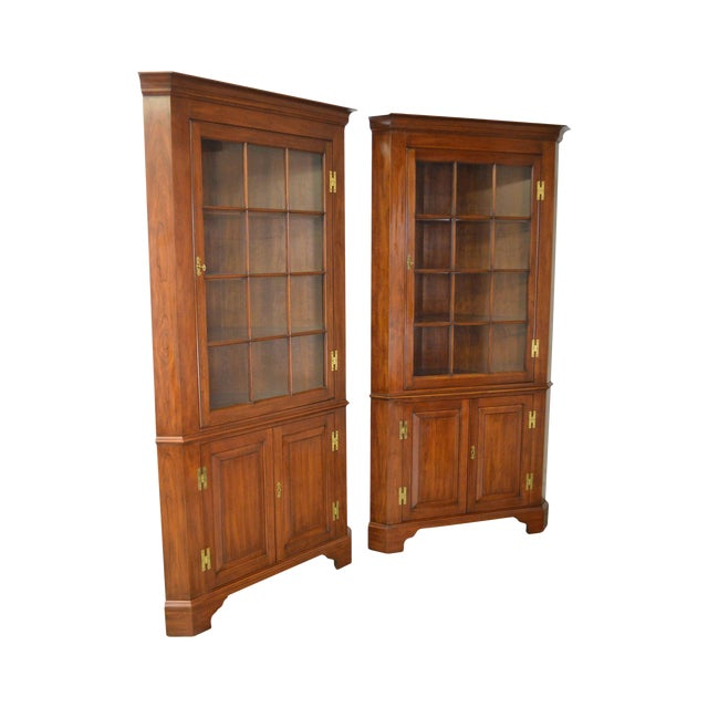 Henkel Harris Chippendale Style Pair of Solid Cherry 12 Pane Corner Cabinets For Sale