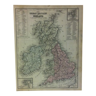1880s Antique Mitchell's Modern Atlas Great Britain and Ireland Map For Sale