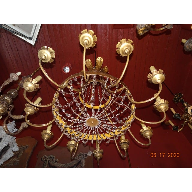 19th Century Italian Gilded Iron and Crystal Chandelier For Sale - Image 10 of 12