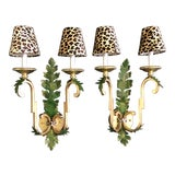Image of Acanthus Leaf Wall Sconces With Leopard Shades - a Pair For Sale