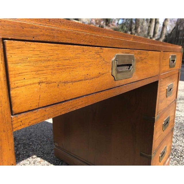 Brown 1970s Campaign Parnter Desk by Sligh For Sale - Image 8 of 11