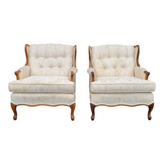 Vintage French Provincial Ivory White Brocade Floral Armchairs- a Pair For Sale